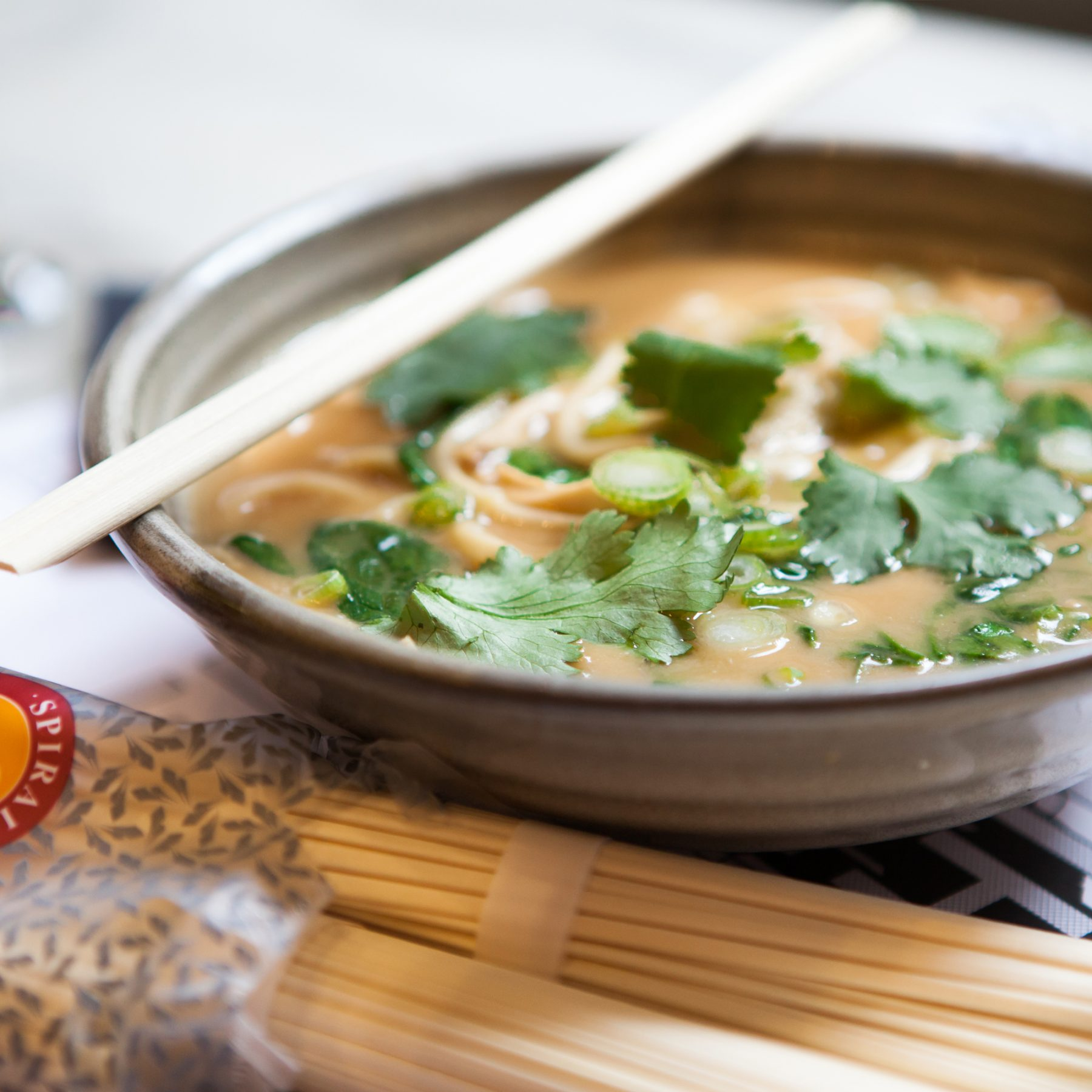 Roast Cauliflower Miso Soup with Shredded Roast Chicken & Udon Noodles