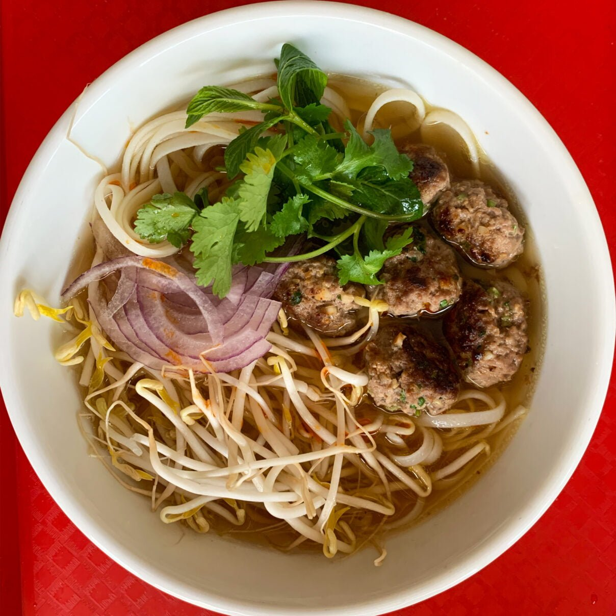 Vietnamese Style Meatballs and Lemongrass Rice Noodle Soup